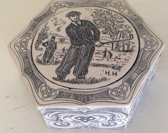 Scrimshaw style trinket box. Jewelry box. Golf gift. Golf Trinket dish. Engraved box. Coin tray. Jewelry holder. Golf trophy. Golf prize.
