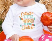 Cutest Little Pumpkin In The Patch Embroidered Onesie or Shirt! Perfect Shirt for the Fall Pumpkin Patch Trips! Babys First Pumpkin Patch!