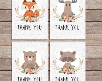 baby shower card, woodland thank you card, gender neutral, fox printable, birthday party, digital printable, fox baby boy, girl,  favor, 149