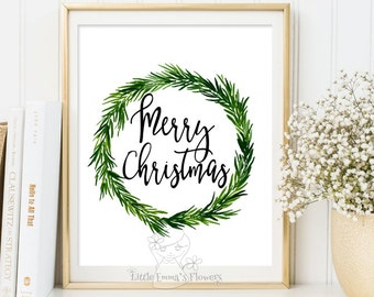 merry Christmas wall art holiday print instant download holiday art decor Christmas wall decor Xmas quote printable calligraphy print 3-63