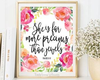 Printable Nursery Art, Watercolor Nursery Decor, Digital Download, rustic nursery, kids room poster, Scripture print, bible verse art  3-63