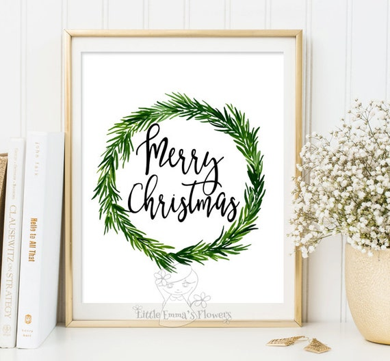 Merry christmas wall art holiday print instant download - Christmas wall decorations ...