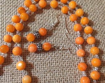 """SunShine. 12"""" Orange Fresh water pearl Necklace with Earrings Set."""