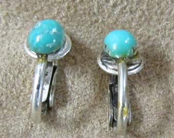 Sterling Silver and Turquoise Clip On Earrings