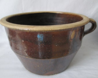 Fantastic Large Pottery Crock with Handle Mixing Bowl Glazed Pottery Antique