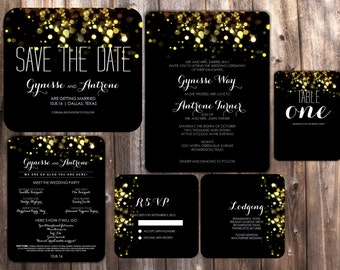 Sparkling Printable Wedding Invitation Suite. Includes save the date, insert cards, program and more