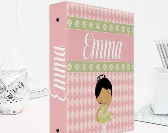 Personalized 3 ring binder, binder organizer, perfect for back to school supplies, school binder - features an adorable ballerina