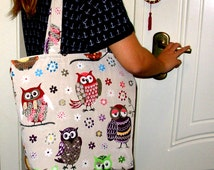Owl Handbag, Owls Tote Bag, Summer Bags, iPod Tote, Beach Bags Totes, Books Hand Bag, Great Gifts For Girls.