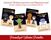 Star Wars Valentines Day Cards, Valentine Printable, Editable Valentines PDF, Personalized Valentines, Edit Text with Adobe Reader