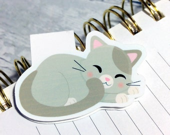 One Magnetic Bookmark/Page Marker. Here, Kitty Kitty. Cat Shaped Bookmark. Sleepy Cat 2