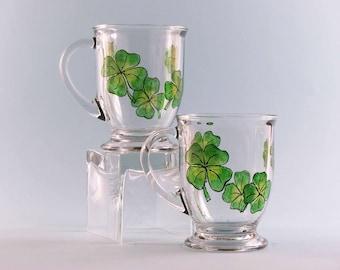 Hand Painted Shamrock Coffee Mugs - St. Patrick's Day Mugs - Shamrock Mugs - Set of Two