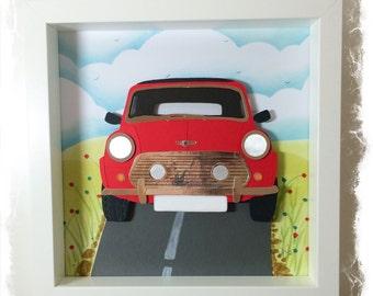 Classic Mini Cooper in Red / Mini Cooper Collage / 3D papercut Picture - Small Shadow box frame