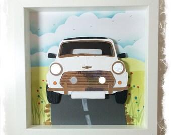 Classic Mini Cooper in White / Mini Cooper Collage / 3D papercut Picture - Small Shadow box frame