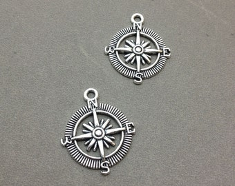20 pcs of Antique Silver Filigree Compass Charms Pendants 25x25mm