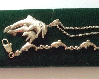 Sterling Silver Dolphin bracelet (pendant sold)