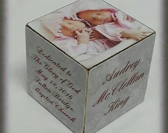 Baptism Wooden Block / Baby Girl Block / Personalized wooden bloc /Hostess gift idea /Name Block /Twins Baptism   block.
