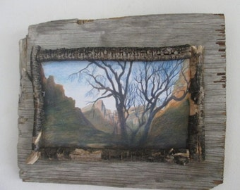 Dead tree twig and barn wood art