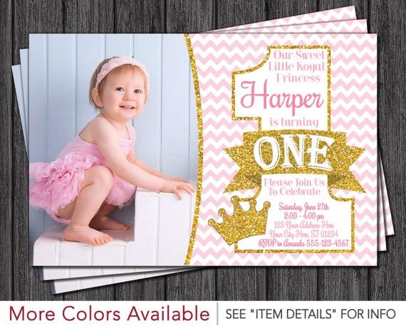 Princess First Birthday Invitation Pink and Gold 1st Birthday – Princess 1st Birthday Invitations