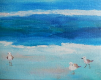 Three Birds at the Beach, Bird Painting, Miniature painting, mini painting, Funny painting