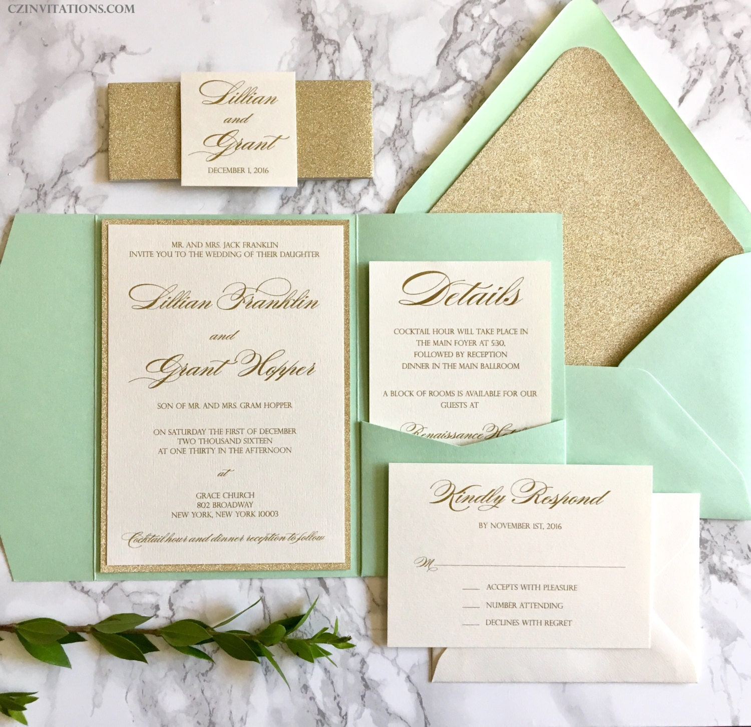 mint wedding invitations mint and gold glitter pocket wedding invitations with glitter 5958