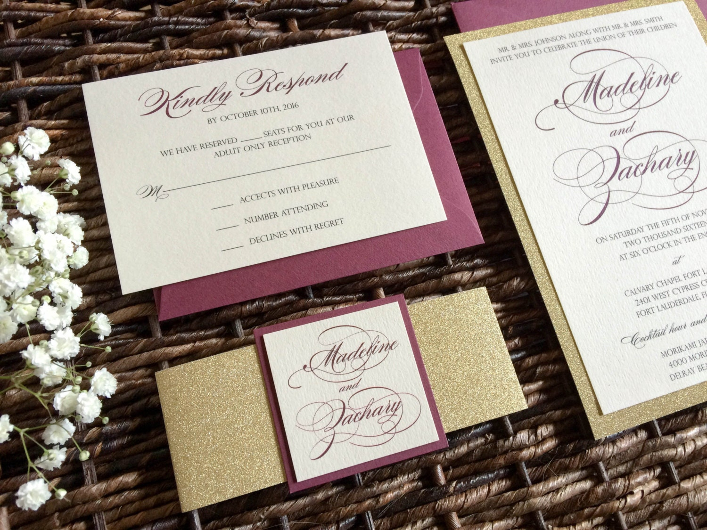Burgundy And Gold Wedding Invitations: Burgundy And Gold Glitter Wedding Invitation With Glitter