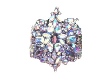 SPARKLE BEAST Czech glass AB rhinestone statement bangle bracelet  cuff wedding bridal bride