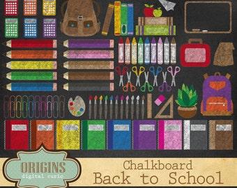 Chalkboard School Clipart - Back to School Clipart, School clip art, Chalk stationery, teaching, teachers, art supplies Instant Download