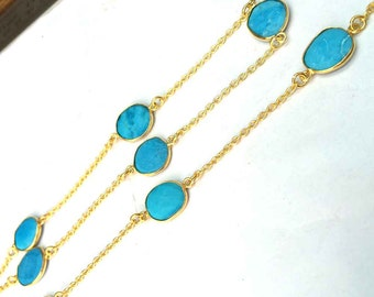 Turquoise uneven oval faceted gemstone bezel set connector gold plated station chain loose gemstone necklace beaded chain