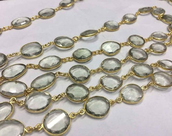 1 foot Crystal uneven oval faceted gemstone bezel set connector gold plated station chain loose gemstone necklace beaded chain
