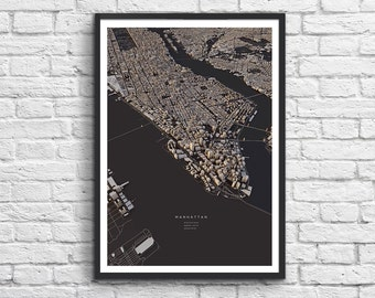 Art-Poster 50 x 70 cm - New-York City 3D Map