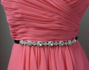Rhinestone Bridal Belt with Clasp - Bridesmaids Belt with clasp-Bridal Sash, maternity sash, thin Rhinestone Belt, wedding accessories