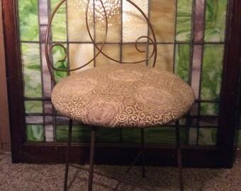 Vintage Wire Vanity Chair, Vanity Seat, Vanity Stool, Vintage Wire Chair