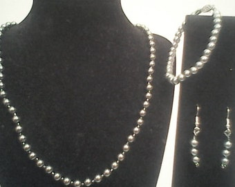 Gray pearl necklace earrings and bracelet