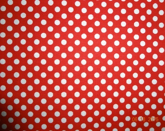 "Red & White Polka Dot Cotton Fabric Remnant - 34"" x 36"""
