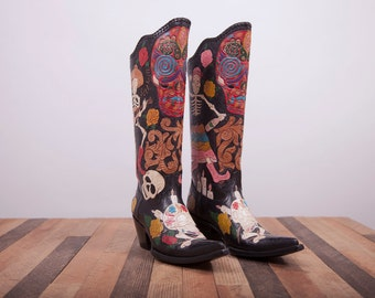 Womens boots -Leather boots-Cowboy Boots-Womens cowboy boots -Black Leather Boots -Leather Cowboy Boots -Handmade Boots Shoes -Western boots
