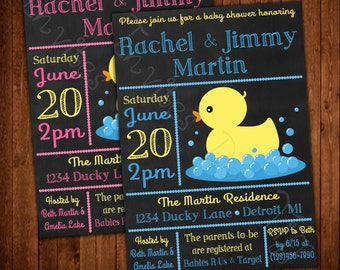 Rubber Ducky Printable Baby Shower Invitation (Pink or Blue Available!)