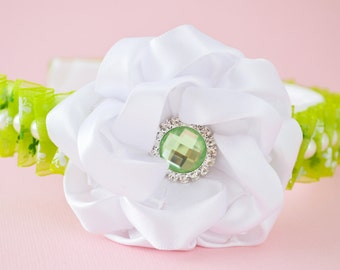 Wonderful Green and White Floral Headband with Kanzashi Flower