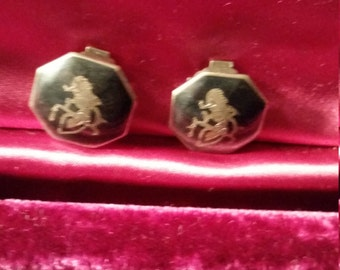Siam sterling silver clip on earrings, vintage clip on earrings, vintage sterling silver earrings, vintage siam jewelry