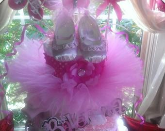 3 tier  Pink ballerina diaper cake-Made To Order