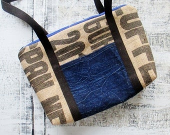 Shoulder Bag, Burlap Coffee Bag Purse, Blue Denim handbag, Recyced Upcycled, Zipper Pouch, Throwback to the 90's, OOAK Device Carrier
