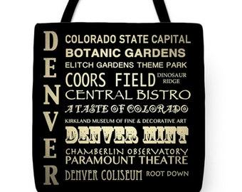 Denver Colorado Tote, Denver Tote, Denver Canvas Tote, Denver Gifts, Denver Accessories, Canvas Tote, Travel Bag, Reusable Tote, Gift