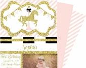 Carousel Invitation/ First Birthday Invitation/ Carnival Invitation/ Circus invitation/ Baby Shower/ Gold Pink Invitation/ Gold Pony