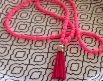 Fluro Pink  long tassel necklace