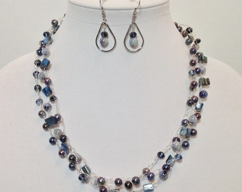Blue, Cultured Pearl, Shell Round, MOP Shell Nugget, Faceted Glass, Non-Tarnish Silver Plated Wire, Wire Crochet, Necklace, Earrings