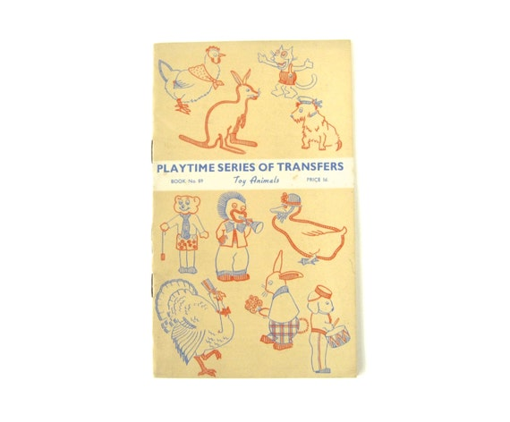 Vintage embroidery transfer booklet playtime series