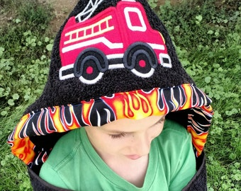 Fire Truck Hooded Towel - Personalized Hooded Towel - Kid's Fire Truck Towel embroidery design, towels for kids, towel for baby