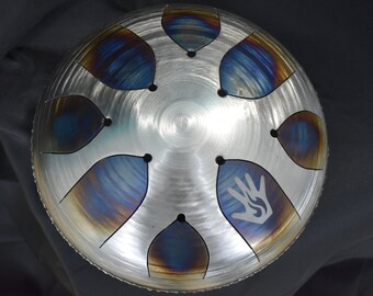 """Custom Steel Tongue Drum w/ """"Touch of Fire"""" Finish -  Hank Drum, Tank Drum"""