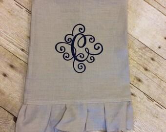 Pure Linen ruffled edge hand towel; wedding; gift