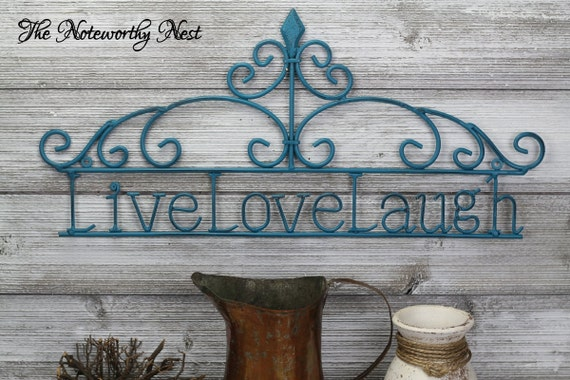 Metal Wall Decor Clearance : Clearance wall decor live laugh love metal scroll