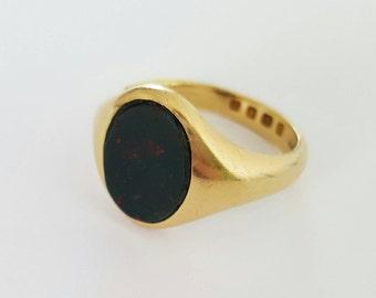 Art deco bloodstone signet ring 18ct
